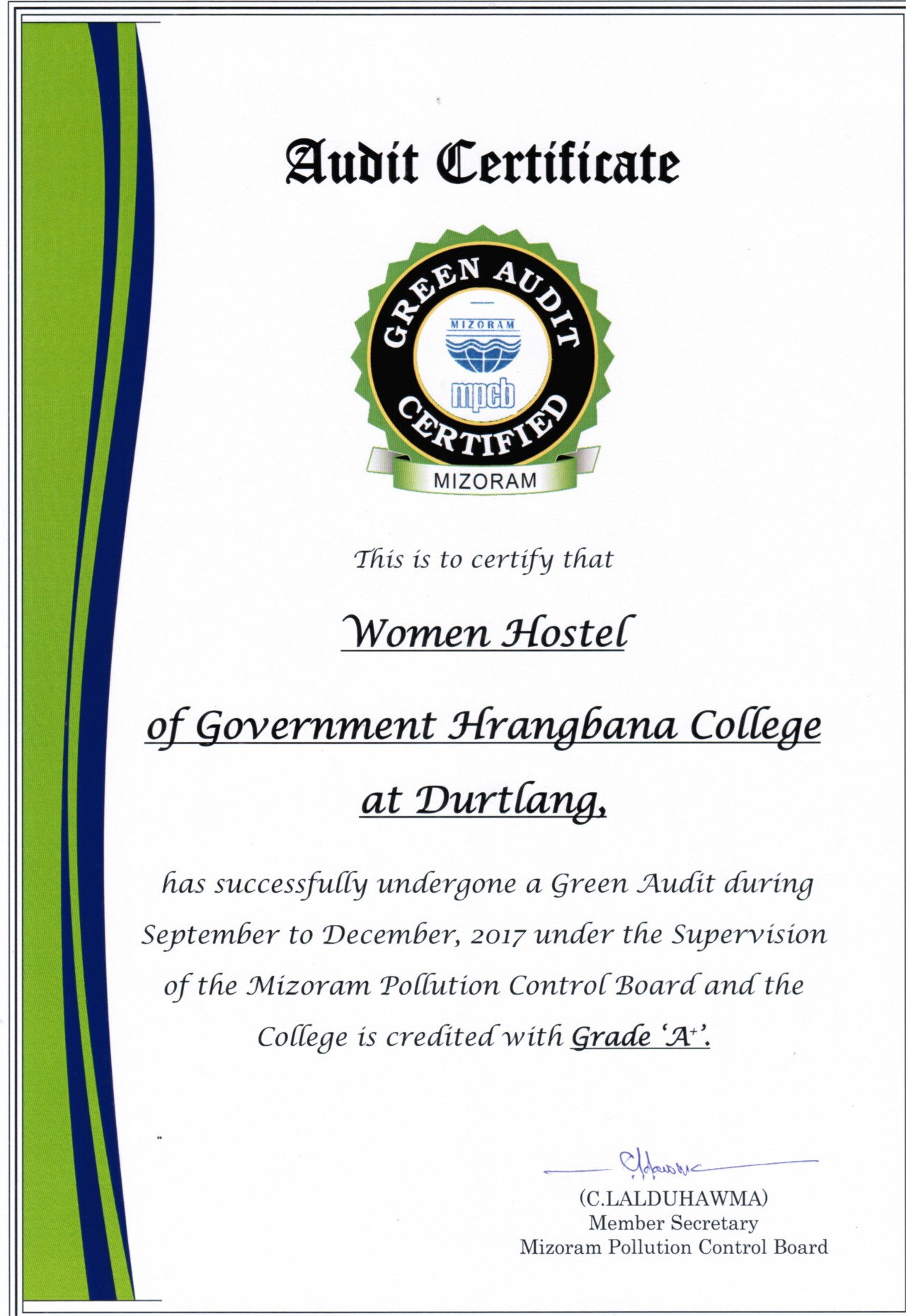 Govt Hrangbana College Green Audit Certificate